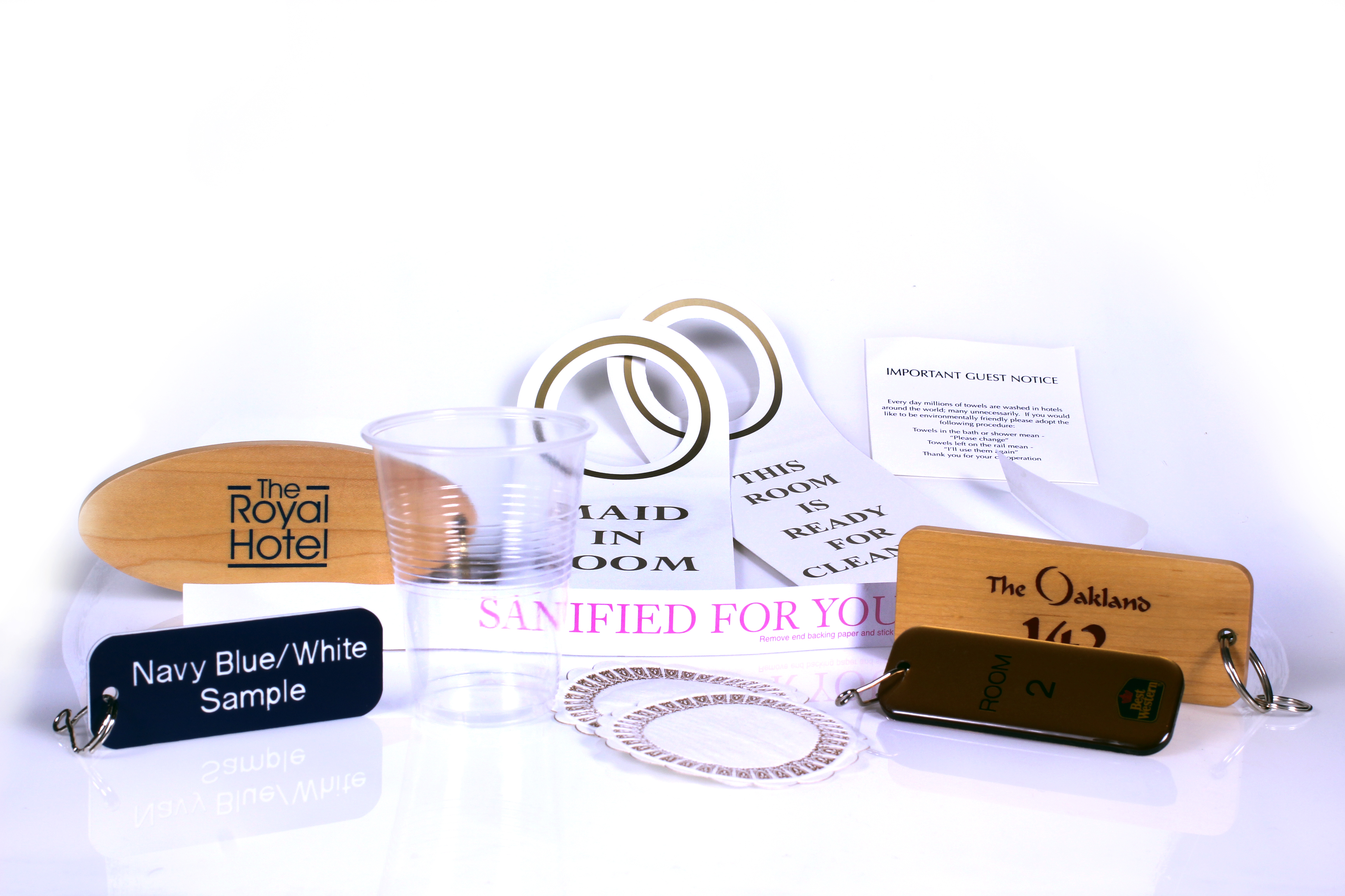 Hotel Coasters, Plastic Tumblers, Key Fobs and Signs