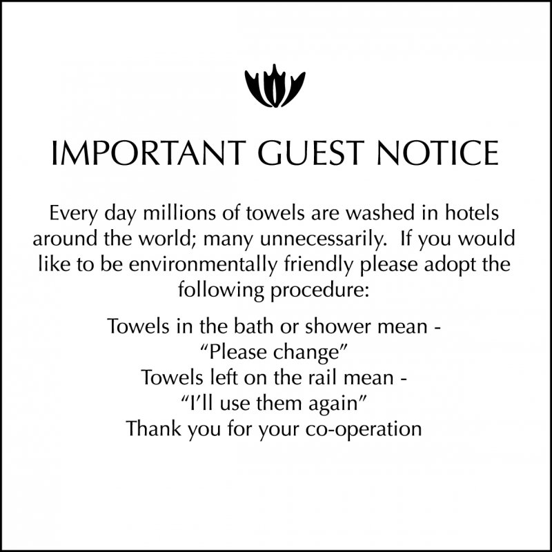 Towel Conservation Sign - 1 Pack of 3